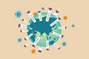 Seringues médicales avec plantation d'aiguilles sur la planète terre avec un virus pathogène vecteur