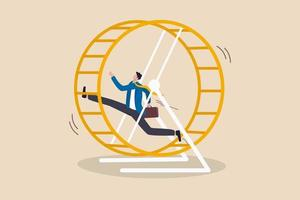 Homme d'affaires frustré en cours d'exécution dans une roue de course de rat vecteur