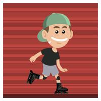 Garçon avec des patins à roues alignées vecteur