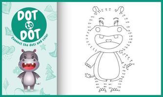 connectez le jeu et la page de coloriage pour enfants points avec une illustration de personnage hippopotame mignon vecteur