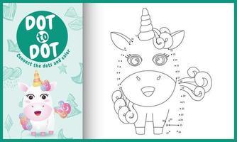 connectez le jeu et la page de coloriage pour enfants points avec une jolie illustration de personnage de licorne vecteur