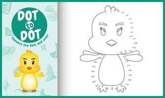 connectez le jeu et la page de coloriage pour enfants points avec une illustration de personnage de poussin mignon vecteur