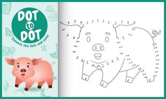 connectez le jeu et la page de coloriage pour enfants points avec une illustration de personnage de cochon mignon vecteur