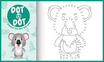 connectez le jeu et la page de coloriage pour enfants points avec une illustration de personnage koala mignon vecteur