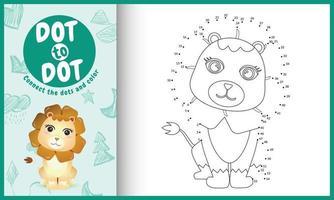connectez le jeu et la page de coloriage pour enfants points avec une illustration de personnage de lion mignon vecteur