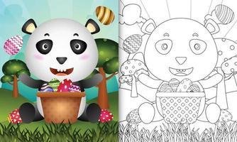 Livre de coloriage pour les enfants sur le thème de joyeuses pâques avec illustration de personnage d'un panda mignon dans l'oeuf de seau vecteur