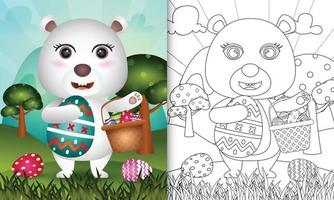 Livre de coloriage pour les enfants sur le thème joyeux jour de Pâques avec illustration du personnage d'un ours polaire mignon tenant l'oeuf de seau et l'oeuf de Pâques vecteur