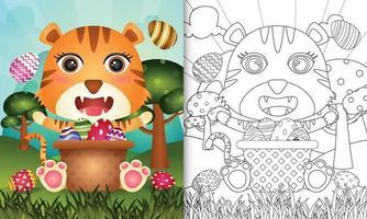 Livre de coloriage pour les enfants sur le thème de joyeuses pâques avec illustration de personnage d'un tigre mignon dans l'oeuf de seau vecteur