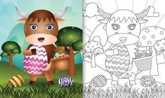 Livre de coloriage pour les enfants sur le thème joyeux jour de Pâques avec illustration du personnage d'un buffle mignon tenant l'oeuf de seau et l'oeuf de Pâques vecteur