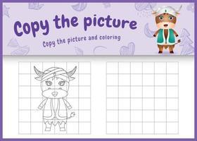 Copiez l'image jeu d'enfants et coloriage sur le thème du ramadan avec un buffle mignon en costume traditionnel arabe vecteur