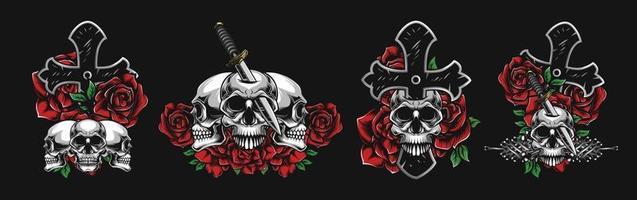 concept de crânes colorés, croix, fleurs, couteaux vecteur