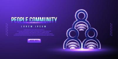 partage de personnes, communauté, filaire low poly, illustration vectorielle