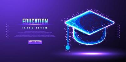 casquette de l'éducation, illustration vectorielle low poly