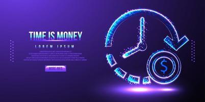 le temps, c'est de l & # 39; argent, illustration vectorielle low poly wireframe vecteur
