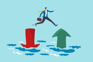 Investisseur sautant de la flèche rouge pointant vers le bas au vert qui monte vecteur
