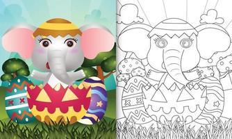 Livre de coloriage pour les enfants sur le thème de joyeuses fêtes de Pâques avec illustration de personnage d'un éléphant mignon dans l'oeuf vecteur