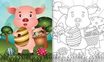 Livre de coloriage pour les enfants sur le thème joyeux jour de Pâques avec illustration du personnage d'un cochon mignon tenant l'oeuf de seau et l'oeuf de Pâques vecteur