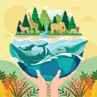 concept écologique du monde vert vecteur