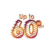 remise jusqu'à 60 hors étiquette vente ligne gradient logo vector illustration de conception de modèle