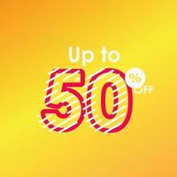 remise jusqu'à 50 hors étiquette vente ligne logo vector illustration de conception de modèle