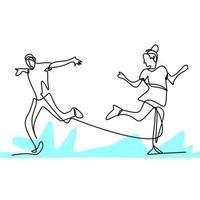 dessin continu d'une ligne de danseur de personnes. jeunes hommes et femmes énergiques pratiquent la danse pour effectuer isolé sur fond blanc. concept de danseur professionnel. conception minimaliste de vecteur