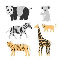 ensemble d'animaux mignons. adorable chat, tigre, panda, zèbre, kangourou et girafe isolé sur fond blanc. Texture créative d'enfants scandinaves pour tissu, emballage, textile, papier peint, vêtements vecteur