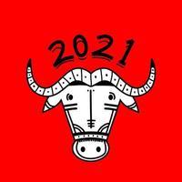 Bonne année 2021. bœuf, vache, têtes de taureau isolés sur fond rouge. mascotte de calendrier lunaire de l'année chinoise orientale. Carte postale chinoise de vecteur de carte de voeux, bannière, affiche. illustration pour le calendrier