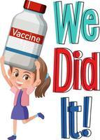 nous l'avons fait police avec un personnage de dessin animé de fille tenant une bouteille de vaccin vecteur
