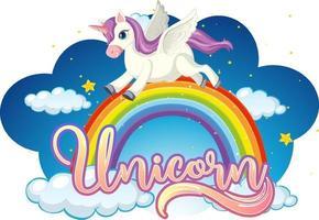 personnage de dessin animé de licorne debout sur arc-en-ciel avec police de licorne vecteur