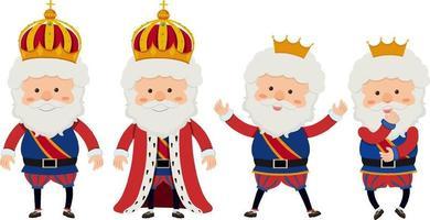 personnage de dessin animé d'un roi avec des poses différentes vecteur
