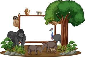 bannière vide avec des animaux sauvages et des arbres de la forêt tropicale sur fond blanc vecteur