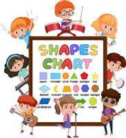 tableau de formes avec de nombreux enfants faisant différentes activités vecteur