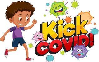 coup de pied la police covid avec un garçon essayant de botter le personnage de dessin animé de coronavirus vecteur