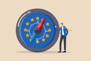 Direction économique de l'Union européenne après le Brexit et Covid-19, stratégie financière de l'UE ou concept de perspectives commerciales et boursières vecteur