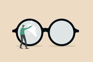 vision d'entreprise claire, voir à travers les lentilles dans les détails ou concept de perspectives commerciales propres et claires vecteur
