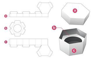boîte hexagonale cosmétique et couvercle avec support d'insertion ronde gabarit découpé vecteur