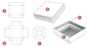 boîte d'emballage en étain et couvercle avec support d'insertion gabarit découpé vecteur