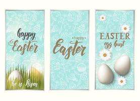 ensemble de bannières de Pâques de voeux. étiquettes avec des oeufs sur l'herbe, lettrage à la mode fait à la main joyeuses pâques. chasse aux œufs et motif avec des symboles pascaux dans le style de croquis. bannière, dépliant, brochure. vecteur