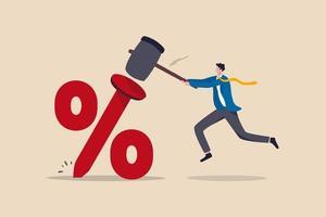 Réserve fédérale à faible taux d'intérêt ou banque centrale avec un taux d'intérêt à long terme de zéro pour cent jusqu'à ce que l'économie récupère le concept vecteur