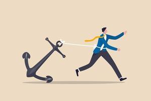 fardeau de carrière, retenu ou pas de cheminement de carrière dans le travail, ancrage de la finance comportementale ou travail acharné et lutte dans le concept d'entreprise vecteur