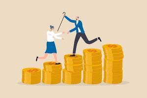 Épargne-retraite ou fonds de pension d'investissement, planification de la richesse et des dépenses pour vivre après la retraite concept vecteur
