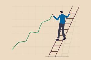 Croissance du prix des actions, flambée ou hausse du prix des actifs, marché boursier ou concept de reprise économique vecteur