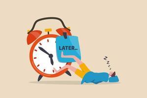 Homme endormi sans aucune idée de se réveiller avec un gros post-it écrit le mot plus tard sur le réveil vecteur