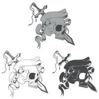 conception de vecteur de crâne avec épée et ruban en niveaux de gris