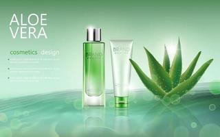 bannière modifiable de publicité cosmétique réaliste avec aloe vera vecteur