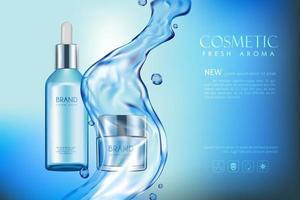 bannière modifiable de publicité cosmétique réaliste vecteur