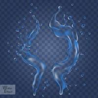 éléments d'écoulement d'eau, peuvent être utilisés comme effet spécial, fond transparent, illustration 3d vecteur