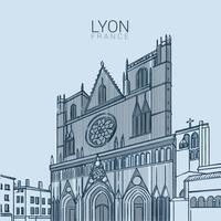 Illustration vectorielle de Lyon médiévale Landmark vecteur