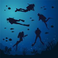 Silhouette de plongée sous-marine vecteur