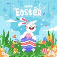 joyeuses pâques avec un joyeux lapin qui rit vecteur